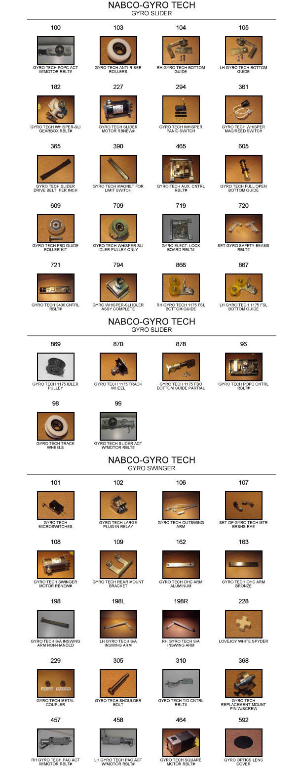 Gyrotech door replacement part catalog 1
