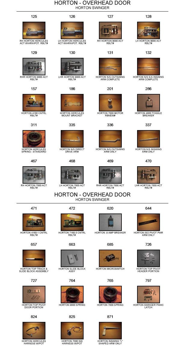 Horton door replacement part catalog 3